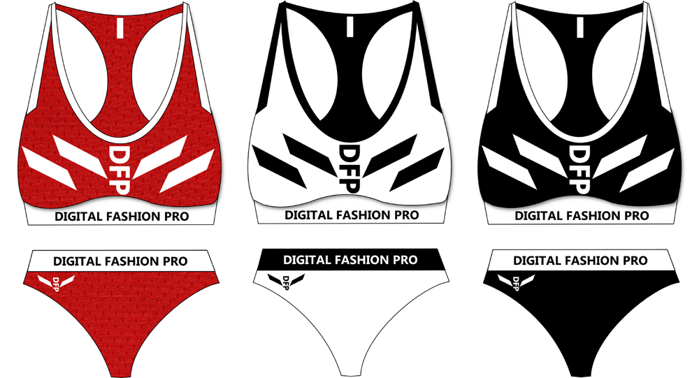 2 Piece Swimsuit Designs - Black Red White