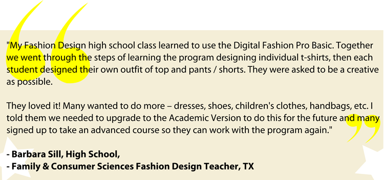 Barbara Sills - Creekview High School Fashion Design Teacher FCS - Review of Digital Fashion Pro