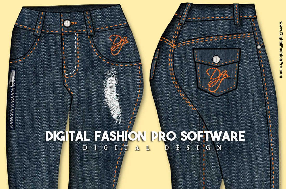 Jean Design - Digital Fashion Design Infographic - how to design jean sketch