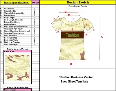 Spec sheet template | clothing/fashion line sheets | technical.