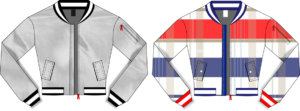 Designer Bomber Jacket - Bue and Red