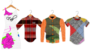 Fashion Design of Shirts and Dresses - On Hanger