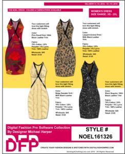 Apparel Design Software, Line Sheet Sample, Digital Fashion Pro