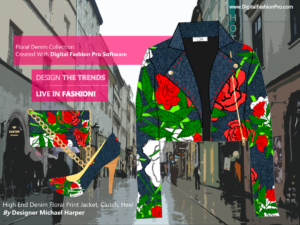 Designer Denim Floral Jacket - Heel - Clutch - Created With Digital Fashion Pro - designed by Michael Harper