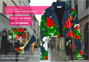 Designer Denim Floral Jacket - Heel - Clutch - Created With Digital Fashion Pro - designed by Michael Harper w fashion design software