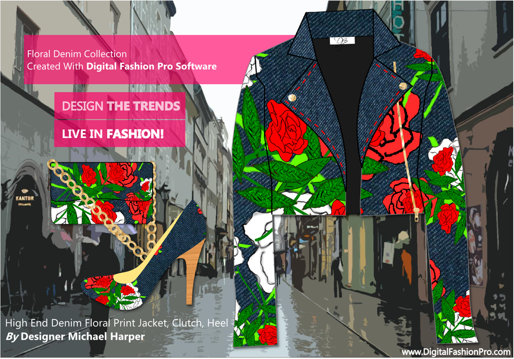 Designer Denim Floral Jacket - Heel - Clutch - Created With Digital Fashion Pro - designed by Michael Harper w fashion design software