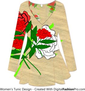 Floral Tunic - Created with - Clothing Design Software - Digital Fashion Pro