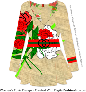 Gucci Floral Tunic - Created with - Clothing Design Software - Digital Fashion Pro