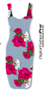 Light Blue Floral Dress - womenswear - created with - clothing design software