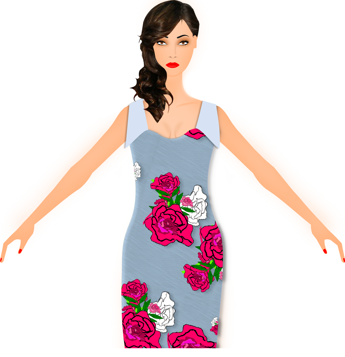 Model Wearing Floral Dress - 3dstyle - fashion design software - Digital Fashion Pro