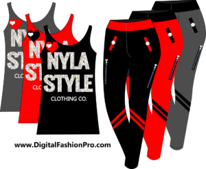New York Tee - Black Leggings - Created with Fashion Design Software