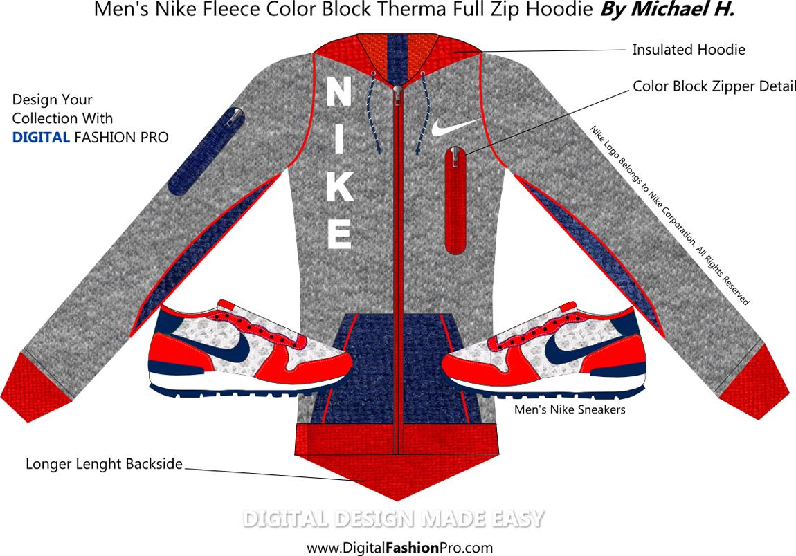 Nike Hoodie Design by Digital Fashion Pro - Fashion Design Software - Clothing Design Software
