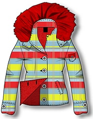 Plaid Coat With Fur Hood Detail - Clothing Design Sketch Software