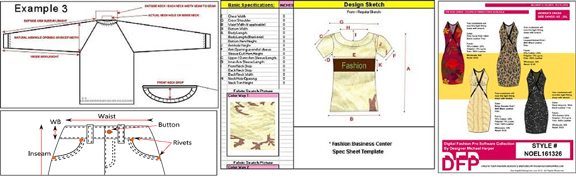 apparel spec sheet and line sheet